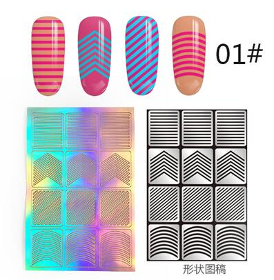 12 Tips/Sheet DIY Fashion Women Nail Vinyls Nail Art Manicure Stencil Stickers Stamp Template Decals Tool Nice