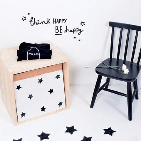 """think happy be happy"" Motto Proverbs DIY Wall Sticker For Baby Room Living Room Bedroom Minimalism Nordic Style Home Wall Decal"