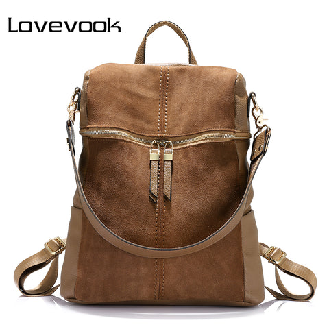 621d0862d9f0 LOVEVOOK brand vintage women backpack nubuck leather+PU school backpacks  for teenage girls casual large