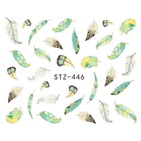 1 Sheet Optional Different Colors Feather Fashionable Nail Art Decor Water Transfers Nail Sticker for Ladies Decals JISTZ445-448