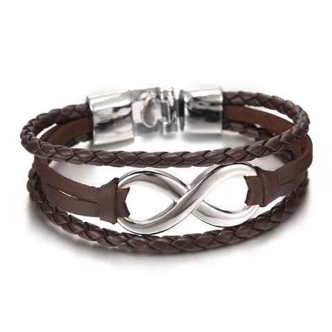 2017 Hot sale high quailty Infinity Bracelet Bangle Genuine Leather Hand Chain Buckle friendship men women bracelet
