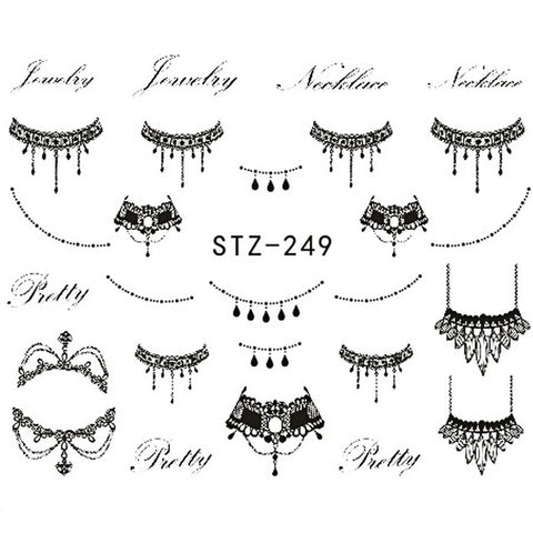 1 Sheet New Fashion Black Necklace Jewelry Design Nail Art Water Transfer Sticker Nail Art Decals Manicure Tool BESTZ249-251