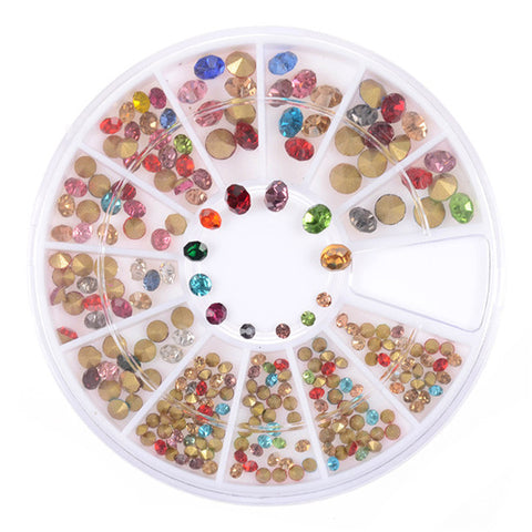 1 Box Colorful Shinning Nail Rhinestones Sharp Flat Bottom Studs 3D Nail Decor Manicure Nail Art Decoration In Wheel