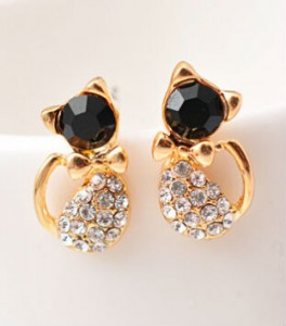 new fashion girls vintage designer gold silver black realistic cat Kitty ear stud earring for women brinco de meninas