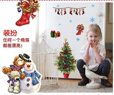 Merry Christmas Wall sticker Santa Snowman Vinyl Wall Decals