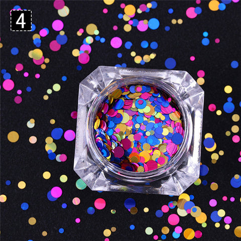 Round Shapes Confetti Nail Sequins 8 Colors Multi-size Paillette Flakies Colorful Manicure Nail Art Decoration