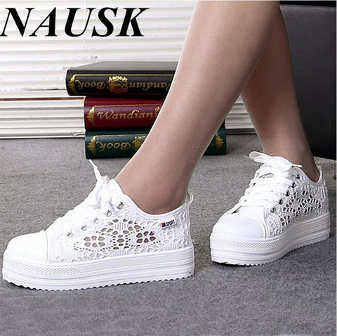 Casual Cutouts Lace Canvas Shoes Summer Women Shoes Hollow Floral Breathable Platform Flat Shoes White Black Color