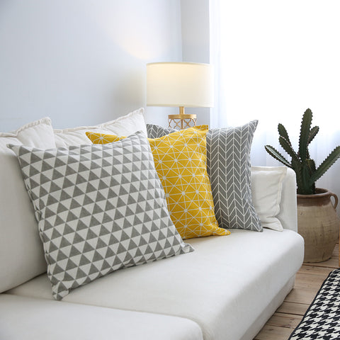 Modern Sofa Cushion Cover Yellow Grey Cotton Linen Decorative Throw Pillow Cover Plaid Geometry Printed Bedding Home Decor 45x45