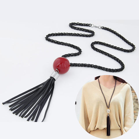 2016 Arrival Tassel Pendant Sweater Chain Long  White Red Beads Necklace Fashion Jewelry Gift