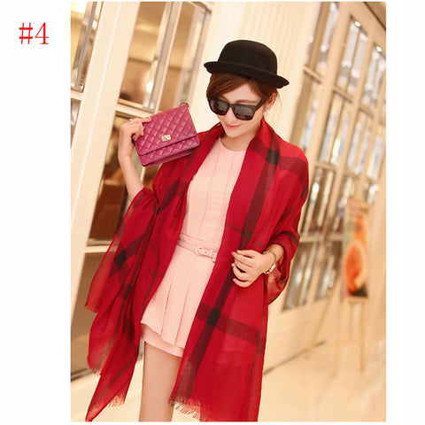 Fashion Polyester Silk Viscose plaid  Scarf Women  Luxury Brand Scarf Women 2017