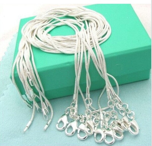 10pcs/lot Promotion! wholesale 925 sterling silver necklace, silver fashion jewelry Snake Chain 1mm Necklace 16 18 20 22 24""