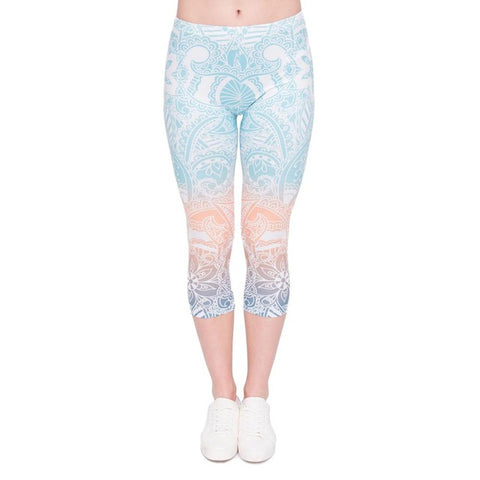 Zohra Summer Hot Sales Women Capri Leggings Mandala Mint Printing Sexy Mid-Calf 3/4 Trousers Movement Leggins Capri Pants