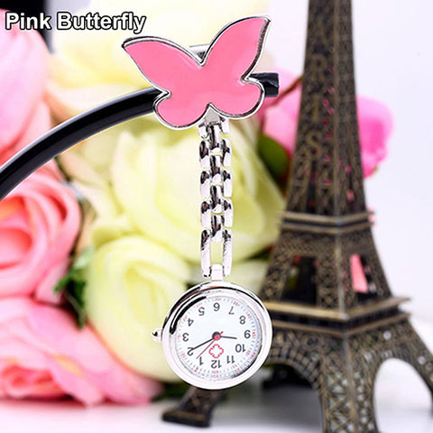 HOT Women's Butterfly Smile Face Quartz Clip-On Brooch Nurse Hanging Pocket Watch Colorful Women Fob Watches Relogio Men Clock