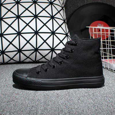 Fashion Men Canvas Shoes Solid Black Breathable Lace Up Unisex Casual Shoes High Top And High Quality c179 15