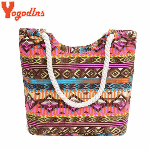 Yogodlns New Women Handbag Canvas Floral Printing Shoulder Beach Bags Casual Female Tote Shopping Bag Bolsa Feminina  2018