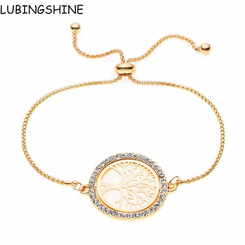 LUBINGSHINE pulseira masculina Simple Adjustable Jewelry Crystal Tree Of Life Round Bracelets Bangles For Women Chain Bracelet