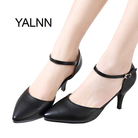 YALNN Spring Summer Basic Women Pumps Shoes Shallow Buckle Strap Thin Heels Pointed Toe for Leisure Office Career Shoes Women