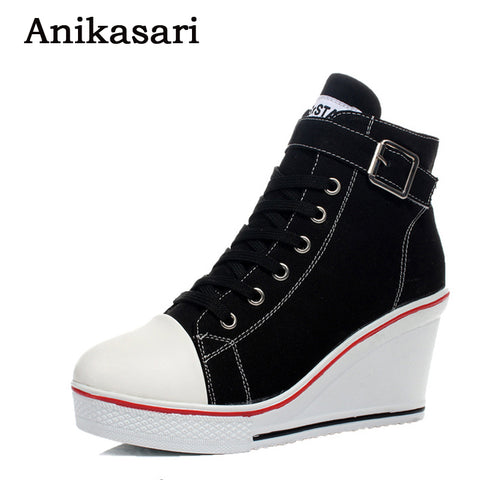 Canvas Shoes Women Wedges Badge High Top Platform Shoes Woman White Black Casual Trainers Elevator Shoe High Heels Zapatos Mujer