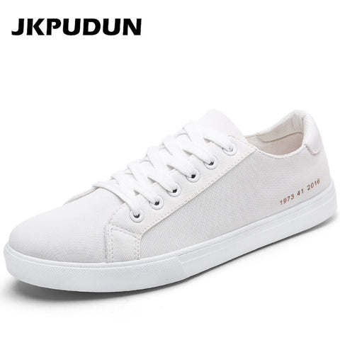 JKPUDUN Men canvas Shoes Casual Outdoor Plimsolls Luxury Brand Designer Fashion Mens Trainers Breathable Flats White Alpargatas