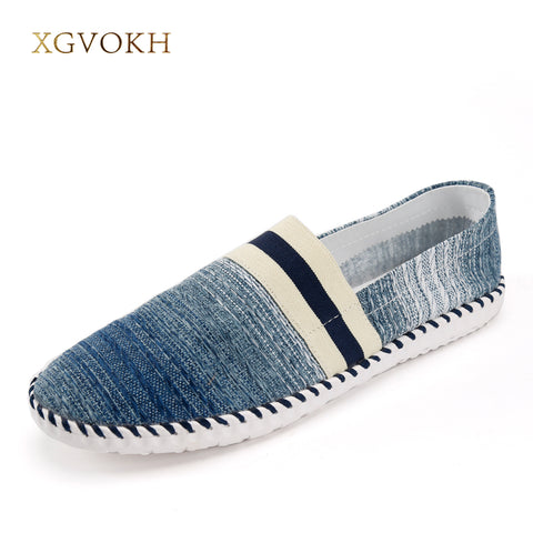 XGVOKH Men Loafers Breathable Handmade Canvas Shoes Spring Summer Striped Slip On Light Casual Driving Flat With Boat Shoes