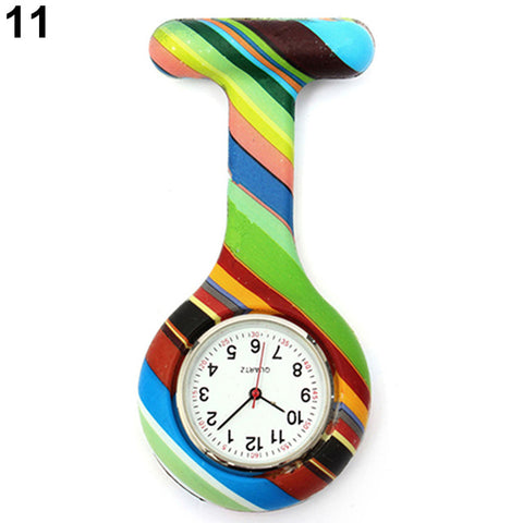 Arabic Numerals Round Dial Silicone Nurses Brooch Tunic Fob Pocket Watch