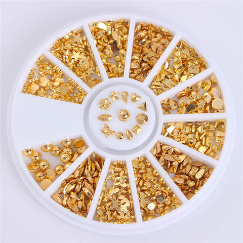 1 Box Jelly Color Rhinestones Flat Bottom Metal Studs Laser Rivet Beads Decor Manicure Nail Art Decoration in Wheel