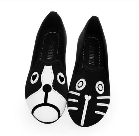 Free Shipping 2016 Women's shoes personality the cat dog shoes velvet flat comfortable flats shoes