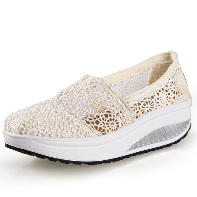 Women casual shoes 2017 spring  summer breathable lace canvas shoes women platform slip-on solid wedges shoes