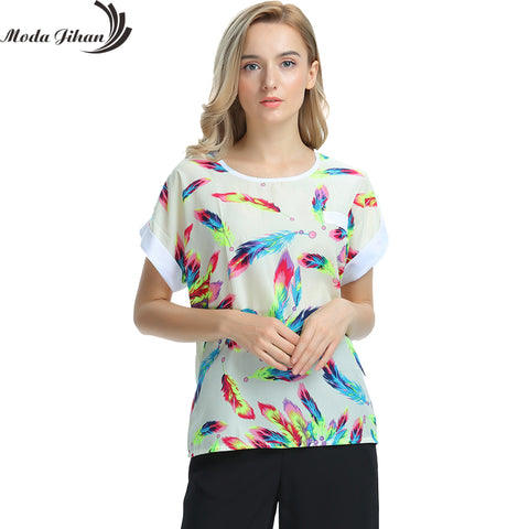 Women Blouses Shirts Chiffon Feminina Top Tee Short Shirt Woman Clothing Blusa Camisa Summer Tops Shirt Floral Fashion