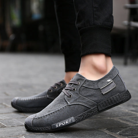 Men Jeans Canvas Shoes 2017  Autumn New Arrival Men Casual Flats Low Top Men Boat Shoes Male Breathable Old Peking Gumshoe XC81