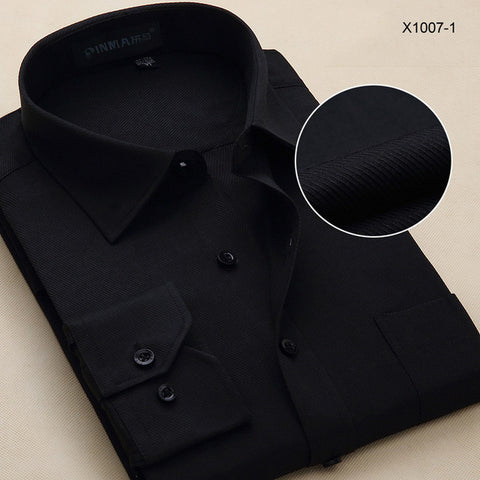 Plus Size Men Dress Shirts Long Sleeve Solid Business Formal White Man Shirt Fashion Male Social Big Size Shirts