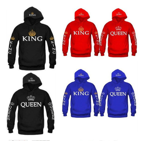 BKLD 2017 Autumn 3Colors King Queen Printed Hoodies Women Men Sweatshirt Lovers couples hoodie Hooded sweatshirt Casual Pullover