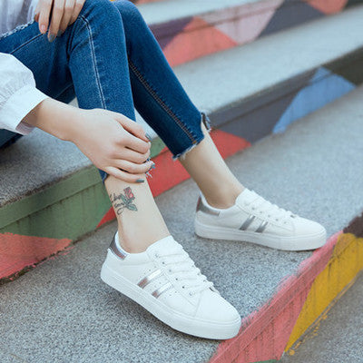 2017 fashion brand women casual shoes leather moccasin platform lady shoes white silver tenis feminino casual chaussure femme