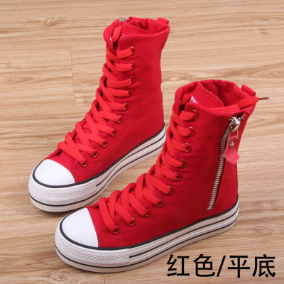 2017 spring autumn high top platform girl's casual canvas shoes side zipper fashion women casual shoes female leisure shoes