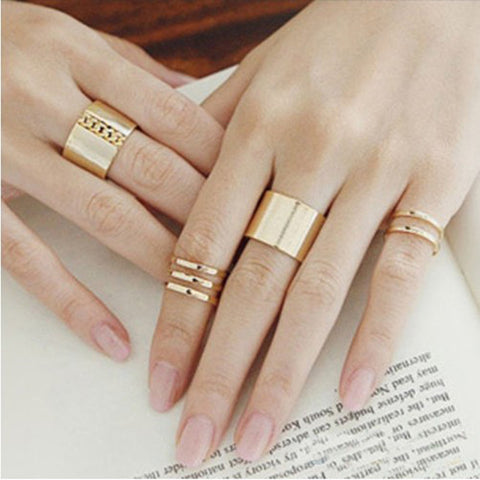 Women Rings Set New 3Pcs/Set Gold Silver Plated Shiny Fashion Band Midi Finger Knuckle Stack Rings