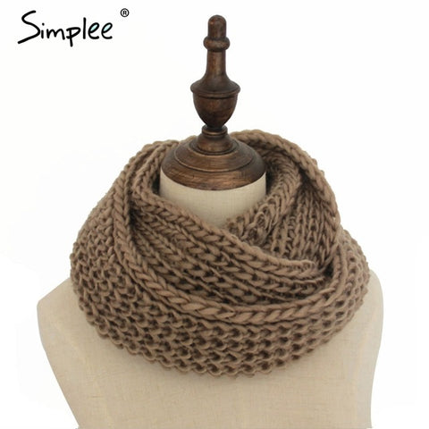 Simplee Casual winter warm knitted scarf Elegant autumn black streetwear women scarf 2017 Fashion white scarves female