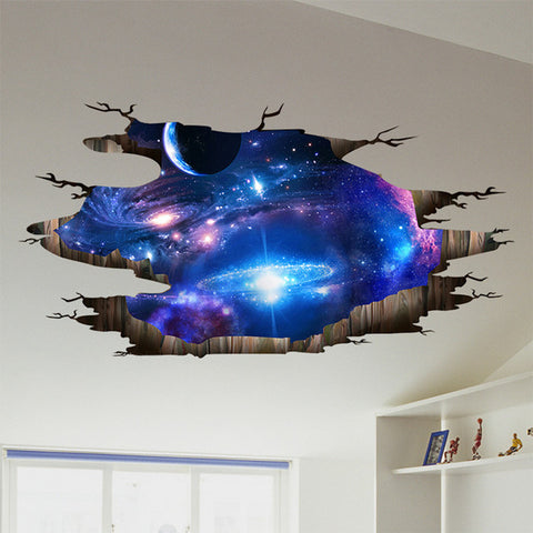 [SHIJUEHEZI] Outer Space Planets 3D Wall Stickers for Living Room Bedroom Floor Decoration Vinyl DIY Home Decor Wall Decals