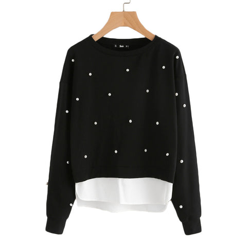 SHEIN Sweatshirt Woman Pearl Beading 2 In 1 Sweatshirt Autumn Women Sweatshirt Black Long Sleeve Elegant Pullovers