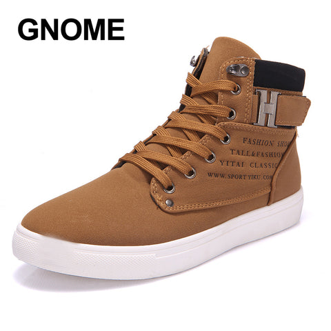 GNOME 2017 Hot Men Shoes Fashion Warm Fur Winter Men Boots Autumn Leather Footwear For Man New High Top Canvas Casual Shoes Men
