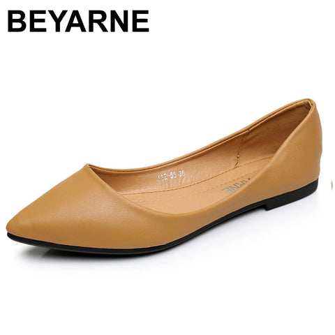 BEYARNENew Women Flats Shoes Leather Platform 1cm Heels Shoe White Women Pointed Toe Leather Girl Shoes