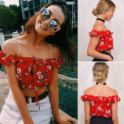New Fashion Women Ladies Sexy Sleeveless Floral Crop Tanks Tops Summer Off Shoulder Chiffion Casual Tank Tops
