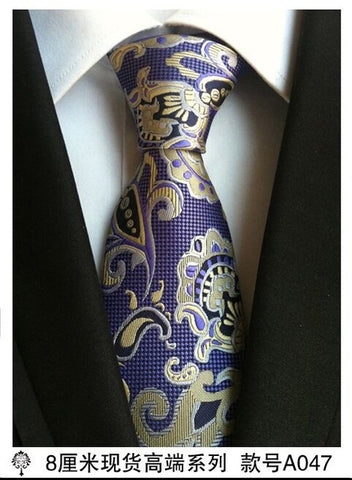 8 cm neck ties for men luxury 100% silk mens necktie 8cm corbata black Gravata Jacquard Slim Tie Business paisley corbatas seda