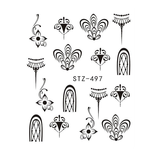 1PCS Popular Black Sticker Nail Art Necklace Jewelry Cat Butterfly Pendant Manicure Tips Nail Water Transfer Decals CHSTZ497-657