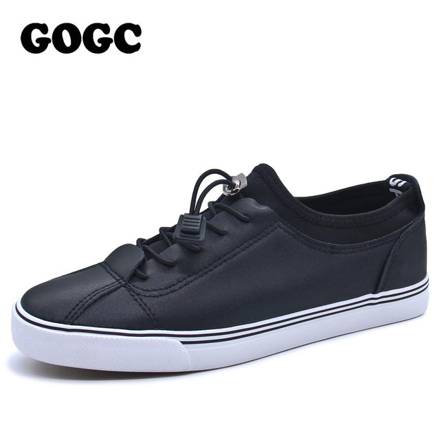 GOGC 2017 Women Flat Shoes Sneakers Breathable Ladies Leather Shoes Autunm Creepers Casual Slip on Women Shoes Slipony Women New