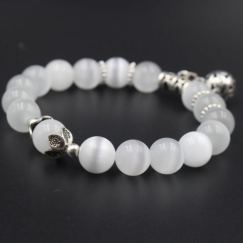 Natural opal beads bracelets crystal fashion women bracelet vintage stainless steel braceletes 030
