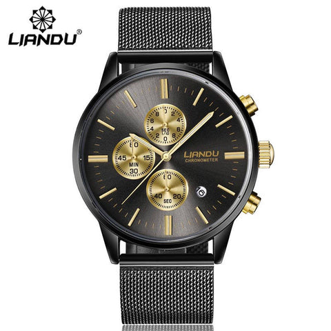 LIANDU Fashion Men's Luxury Chronograph Luminous Black Quartz Watch Simulated Stainless Steel Mesh With Watch