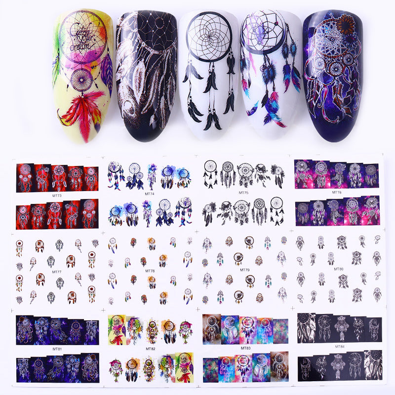 1 Big Sheet Dream Catcher Series Nail Water Decal Feather Transfer Sticker Manicure DIY Nail Art Decoration 12 Patterns/Lot