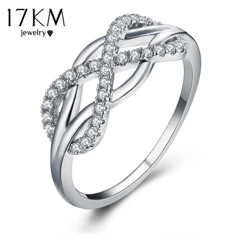 17KM Cubic Zirconia Crystal Infinite Rings For Women 2017 Fashion Design Statement Rose Gold Sliver Color Ring Wedding Jewelry