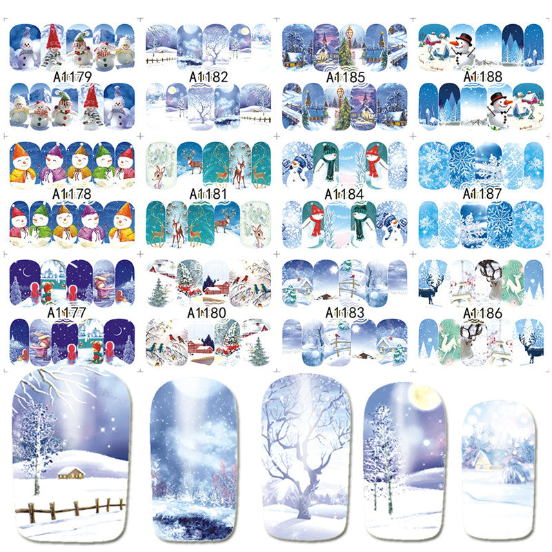 12 Designs in 1 set Winter Snowflake Full Wraps Nail Art Water Transfer Stickers Christmas Style Manicure Decal DIY BEA1177-1188