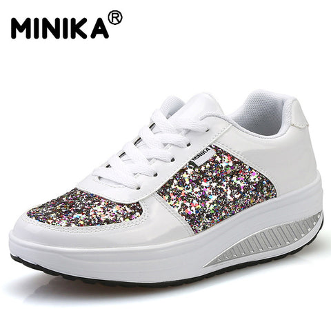 Minika Fashion Women's Vulcanize Shoes Diamond Height Increasing Breathable Wedges Women Casual Shoes Light weight Trainers